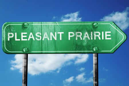 pleasant: pleasant prairie road sign on a blue sky background Stock Photo