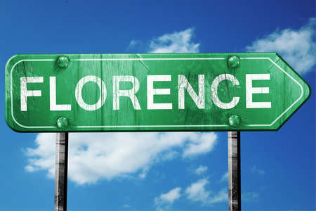 florence: florence road sign on a blue sky background
