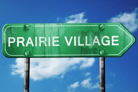 prairie: prairie village road sign on a blue sky background Stock Photo