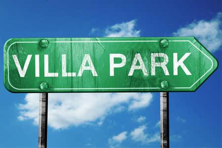 holiday villa: villa park road sign on a blue sky background Stock Photo