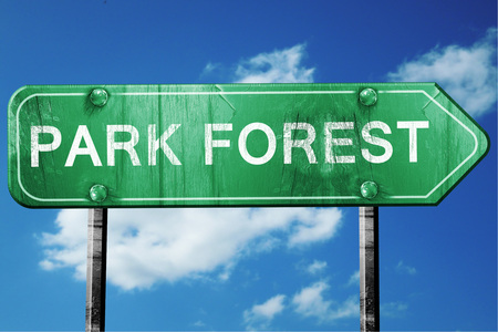 forest road: park forest road sign on a blue sky background