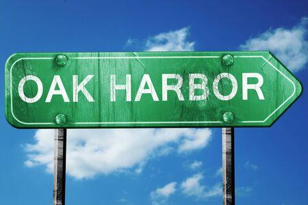 harbor: oak harbor road sign on a blue sky background