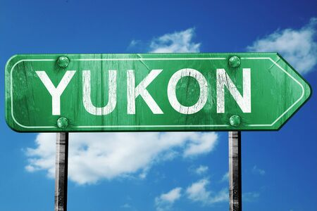 yukon: yukon road sign on a blue sky background Stock Photo