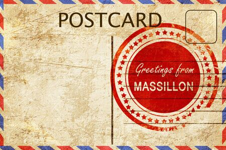 postcard: greetings from massillon, stamped on a postcard