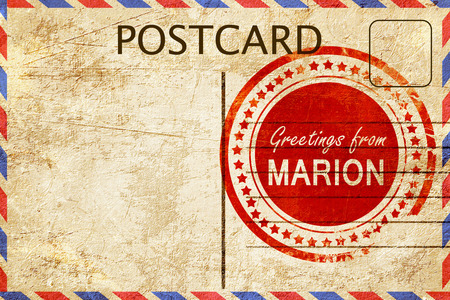marion: greetings from marion, stamped on a postcard