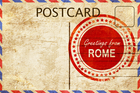 postcard: greetings from rome, stamped on a postcard