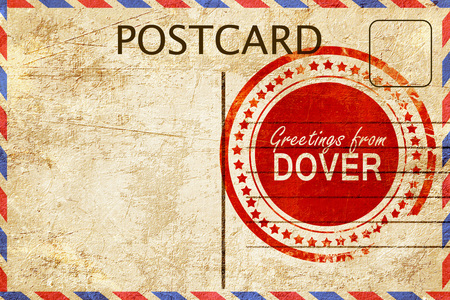 dover: greetings from dover, stamped on a postcard Stock Photo
