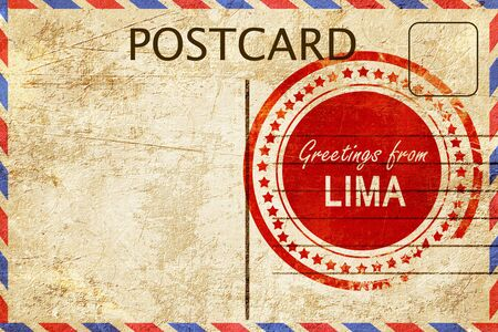 lima: greetings from lima, stamped on a postcard