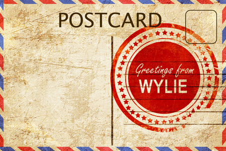 postcard: greetings from wylie, stamped on a postcard Stock Photo