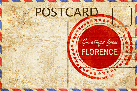 stamped: greetings from florence, stamped on a postcard