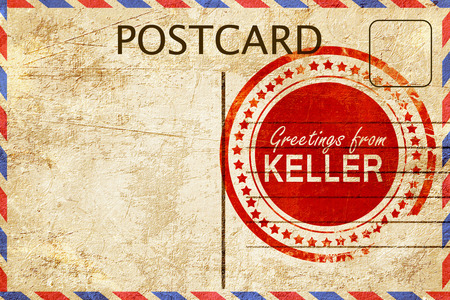 stamped: greetings from keller, stamped on a postcard Stock Photo
