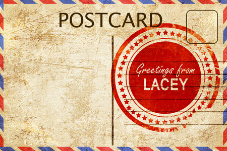 lacey: greetings from lacey, stamped on a postcard Stock Photo