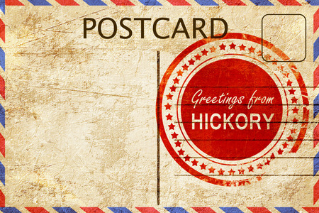 postcard: greetings from hickory, stamped on a postcard Stock Photo