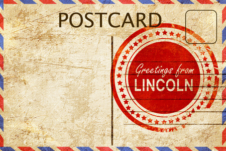 lincoln: greetings from lincoln, stamped on a postcard