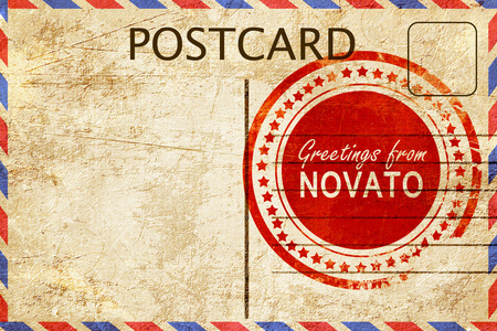 postcard: greetings from novato, stamped on a postcard