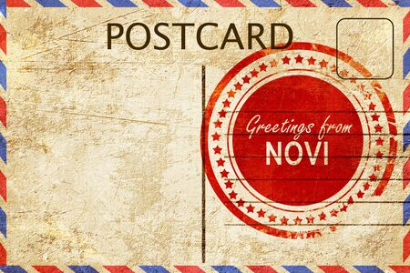 stamped: greetings from novi, stamped on a postcard
