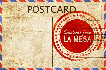 la: greetings from la mesa, stamped on a postcard Stock Photo