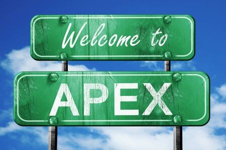 apex: Welcome to apex green road sign Stock Photo
