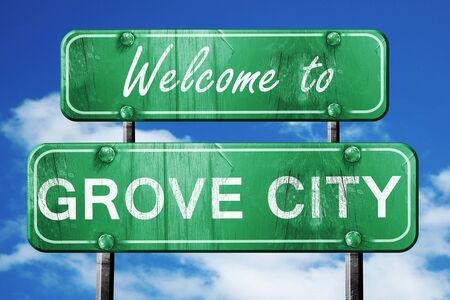 grove: Welcome to grove city green road sign
