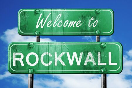 rockwall: Welcome to rockwall green road sign