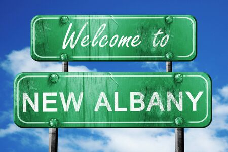 albany: Welcome to new albany green road sign Stock Photo