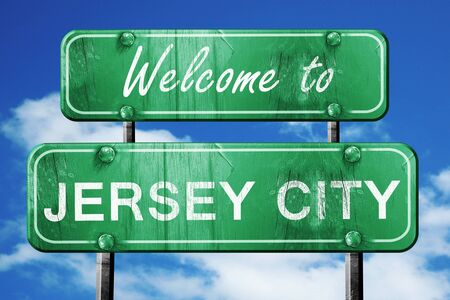 jersey city: Welcome to jersey city green road sign