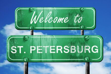 st petersburg: Welcome to st. petersburg green road sign Stock Photo
