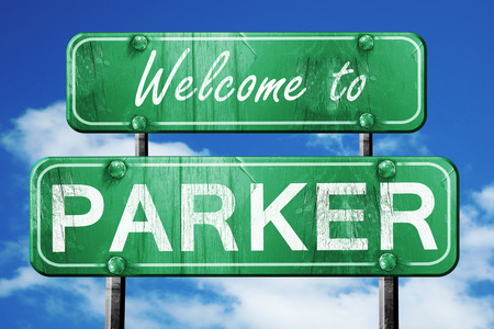 green road sign: Welcome to parker green road sign