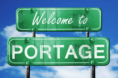 portage: Welcome to portage green road sign Stock Photo