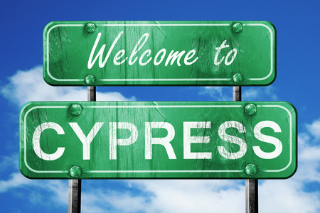 cypress: Welcome to cypress green road sign
