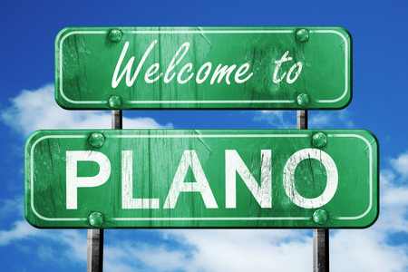 plano: Welcome to plano green road sign Stock Photo