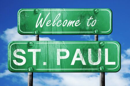 paul: Welcome to st. paul green road sign Stock Photo