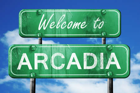 and arcadia: Welcome to arcadia green road sign