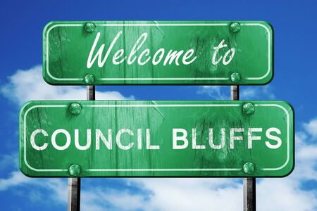 council: Welcome to council bluffs green road sign Stock Photo