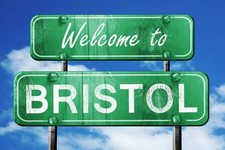 bristol: Welcome to bristol green road sign