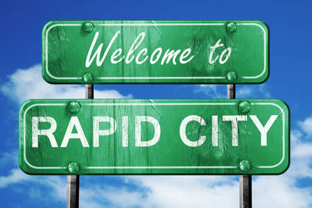 rapid: Welcome to rapid city green road sign