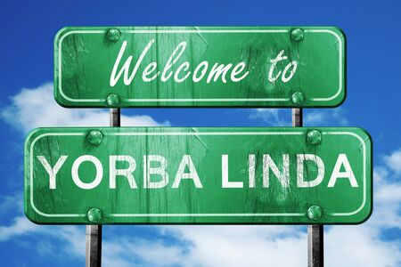 linda: Welcome to yorba linda green road sign Stock Photo