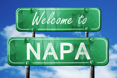 napa: Welcome to napa green road sign Stock Photo