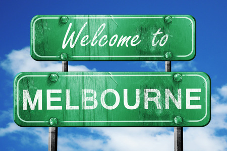 melbourne: Welcome to melbourne green road sign