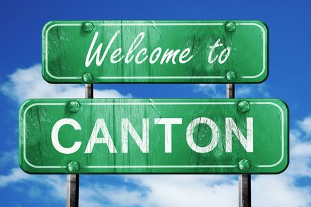 canton: Welcome to canton green road sign