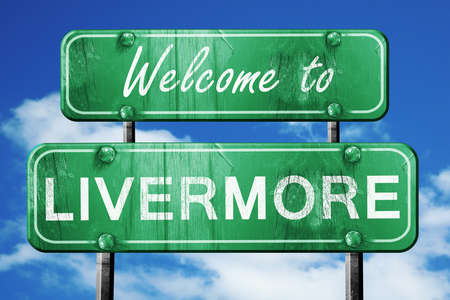 livermore: Welcome to livermore green road sign Stock Photo
