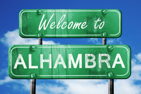 alhambra: Welcome to alhambra green road sign