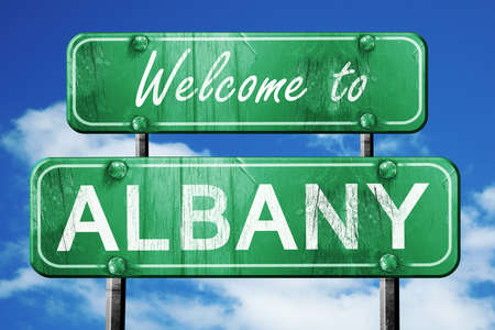 albany: Welcome to albany green road sign