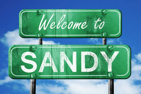 sandy: Welcome to sandy green road sign