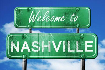 nashville: Welcome to nashville green road sign