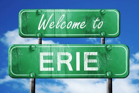 Welcome to erie green road sign Stock Photo