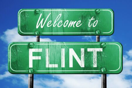 flint: Welcome to flint green road sign Stock Photo
