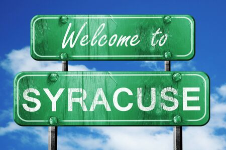 syracuse: Welcome to syracuse green road sign Stock Photo