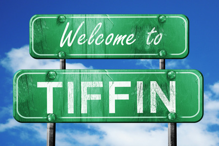 tiffin: Welcome to tiffin green road sign