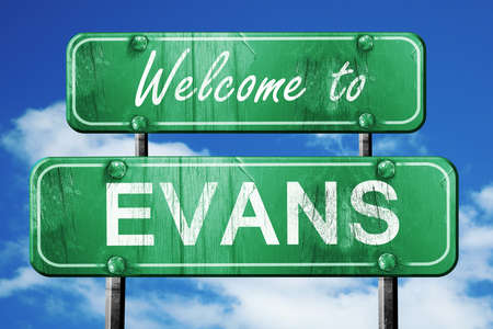 evans: Welcome to evans green road sign Stock Photo